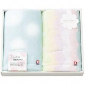 楠橋紋織 KUSUBASHI MON-ORI 今治タオル フェイスタオル 2枚セット ブルー LCA-200BL 衣料品・布製品・服飾用品