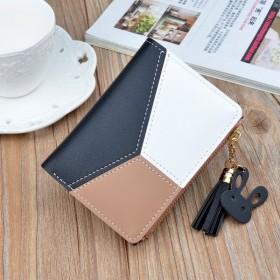 財布 ウォレット 二つ折り財布 カードケース カード入れ ファスナー ジッパー 小銭入れ フェイクレザー レディース うさぎ バイカラー 可愛い