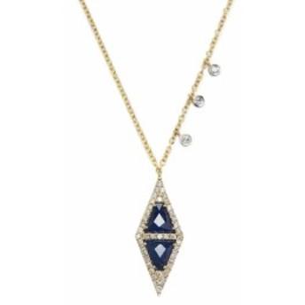 メイラT レディース ジュエリー 14K Yellow Gold, Blue Sapphire & 0.32 Total Ct. Diamond Pendant Necklace