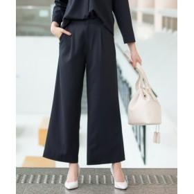 【変り織リスピィシリーズ】すごく伸びる多機能9分丈セミワイドパンツ(上下別売り)【レディーススーツ】 (大きいサイズレディース)スーツ,women's suits ,plus size