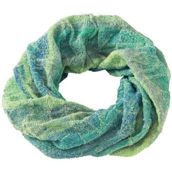 かすり柄の涼やかスヌード - セシール ■カラー:ブルーグリーン系