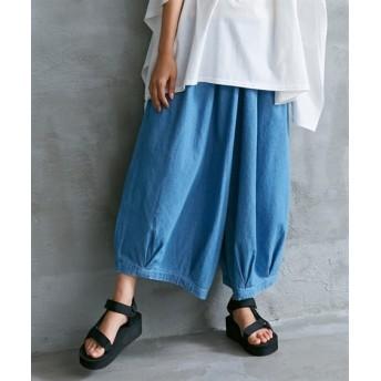 裾タック入ゆったりデニムワイドパンツ (レディースパンツ),pants