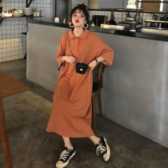 韓国 ファッション レディース ワンピース ワンピ ロング ポロネック 大きいサイズ ゆったり 七分袖 無地 ベーシック カジュアル
