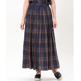 INED / イネド 《Maison de Beige》チェック柄リネンロングスカート