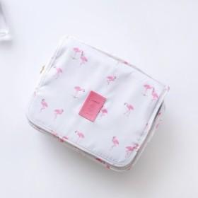 【お取り寄せ】ポーチ 洗面用具ケース ハンギングポーチ 大容量 ポップな柄 メッシュポケット (フラミンゴ)