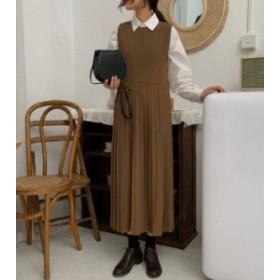 オルチャン 韓国 ファッション ワンピース ジャンパースカート ロング プリーツ ハイウエスト シンプル カジュアル レトロ 大人可愛い