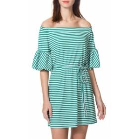 ドナモーガン レディース ワンピース Striped Off-the-Shoulder Dress