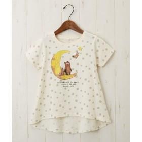 綿100%ドット総柄くまTシャツ(女の子 子供服) Tシャツ・カットソー