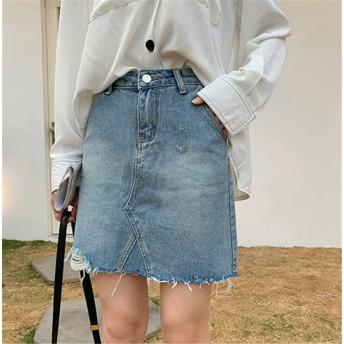 2019新品発売 韓国ファッション CHIC気質/大人気/おしゃれな/トレンド/カジュアル/破れ/短いスタイル/デニム/スカート