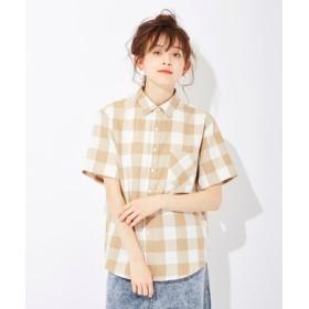 HONEYSUCKLE ROSE ブロックチェックシャツ レディース ベージュ*オフホワイト