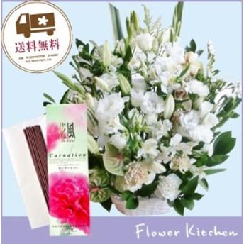 供花アレンジ10800円+線香 花風カーネーション お花とお線香セット