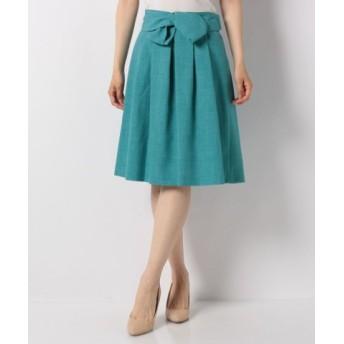 (PATTERN fiona/パターン フィオナ)リボンベルト付きカチオンカラースカート/レディース グリーン 送料無料