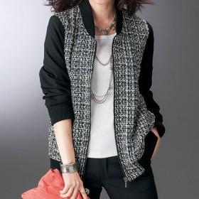 ベルーナ ツイード切替デザインジャケット<カルーチェ> 黒系 LL レディース