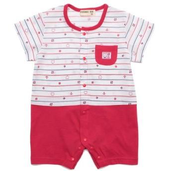 天竺クレープ半袖ロンパス レッド 女の子 乳児 アウター グレコ ロンパース 3376