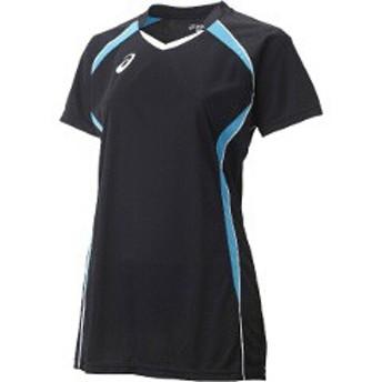 アシックス ASICS バレーボール用(レディース用) W'SゲームシャツHS XW1317 [カラー:ブラック×アクア] [サイズ:S] #XW1317