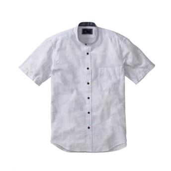 浮雲(うきぐも)かすれしじらスタンドカラー半袖シャツ カジュアルシャツ