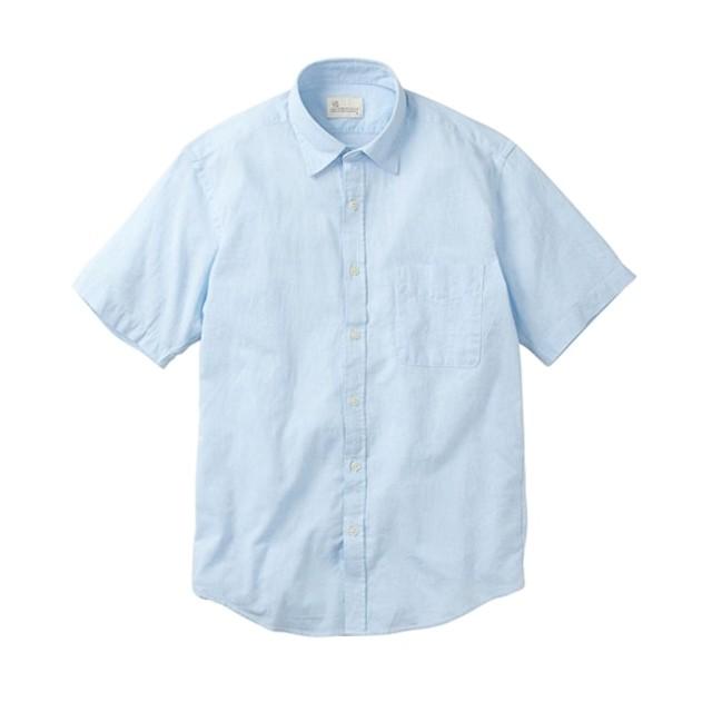 CANTERBURY WOOD(カンタベリーウッド)麻入りシャンブレー無地半袖シャツ カジュアルシャツ