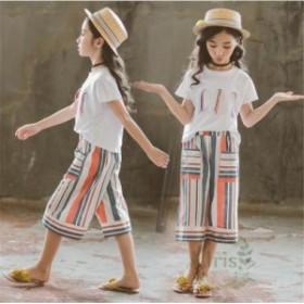 子供服 女の子 セットアップ 夏 半袖Tシャツ ガウチョパンツ 2点セット 上下セット ワイドパンツ キッズ ジュニア 可愛い お洒落