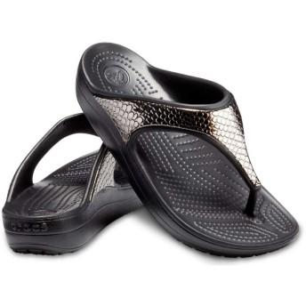 【クロックス公式】 クロックス スローン メタリック テクスチャー フリップ ウィメン Women's Crocs Sloane Metallic Texture Flip ウィメンズ、レディース、女性用 ブラック/黒 21cm,22cm,23cm,24cm,25cm flip ビーチサンダル フリップサンダル ビーサン 40%OFF