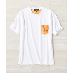 REYN SPOONER サーフポケットTシャツ メンズ ホワイト*オレンジ