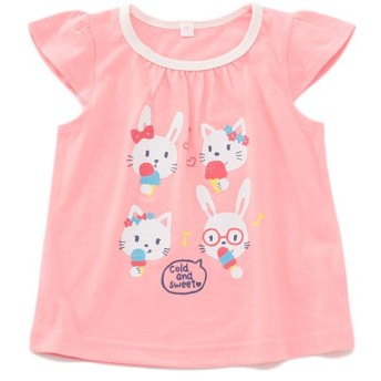 トップバリュベストプライス Tシャツ ウサギ ピンク 女の子 ベビー 半そでTシャツ BT126AF6219