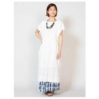 【チャイハネ】yul 花刺繍カットワークコットンワンピース ホワイト