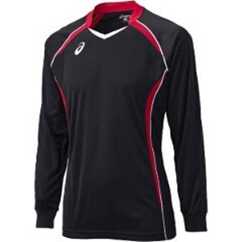 アシックス ASICS バレーボール用 ゲームシャツLS XW1320 [カラー:ブラック×Vレッド] [サイズ:S] #XW1320