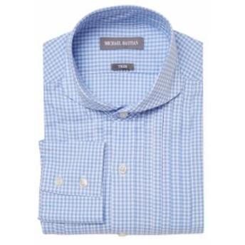 マイケルバスティアングレーラベル Men Clothing Trim Fit Checkered Dress Shirt