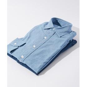 トゥモローランド 80/2インディゴオックスフォード セミワイドカラーシャツ メンズ 63ライトブルー L 【TOMORROWLAND】