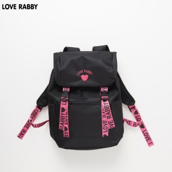 LOVERABBY(ラブラビ) ロゴテープリュック クロ×ピンクテープ 女の子 バッグ 512435