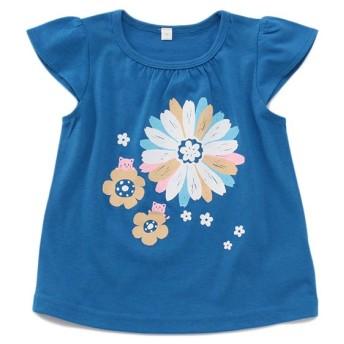 トップバリュベストプライス Tシャツ 花 ブルー 女の子 ベビー 半そでTシャツ BT126AF6229