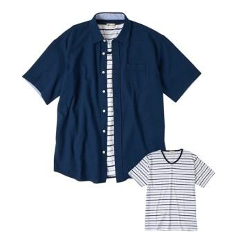 Natural Story(ナチュラルストーリー)2点セット(パナマ半袖シャツ+ボーダーTシャツ)大きいサイズメンズ カジュアルシャツ