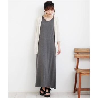 ノースリーブVネックロング丈ワンピース (ワンピース),dress