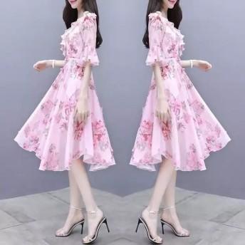 韓国ファッションレディースシフォン ロングワンピース /ワンピース/夏新作ワンピース 無地ワンピース ブラック ピンク