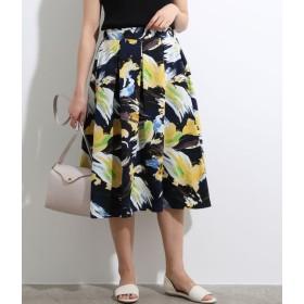 ViS ビス アートフラワープリントギャザースカート