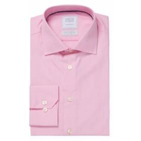 スミス&ギブソン Men Clothing End on End Dobby Sky Cotton Dress Shirt