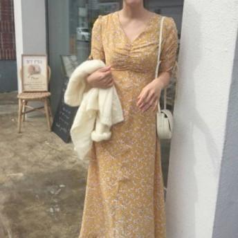 オルチャン 韓国 ファッション ワンピース ワンピ 花柄 ロング ハイウエスト Vネック リボン 半袖 大人可愛い フェミニン レトロ