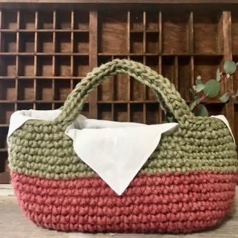 ころんとかわいい手染め麻ひもかごバッグ オーバル型 赤×緑