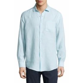 サックスフィフスアベニュー Men Clothing Pop-Over Linen Sportshirt