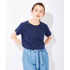 BACK NUMBER インディゴロゴ刺繍Tシャツ レディース ネイビー