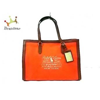 ラルフローレン トートバッグ オレンジ×ブラウン×シルバー 刺繍 キャンバス×レザー スペシャル特価 20190715
