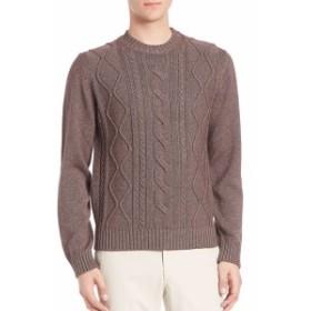 サックスフィフスアベニュー Men Clothing Cable-Knit Silk & Cashmere Sweater