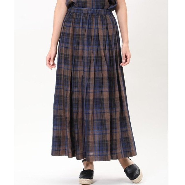 INED / 《Maison de Beige》チェック柄リネンロングスカート