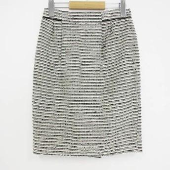 【中古】アンタイトル UNTITLED 美品 スカート 膝丈 ツイード ボーダー グレー 1 レディース