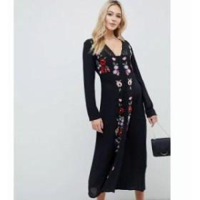 エイソス ワンピース embroidered maxi dress Black
