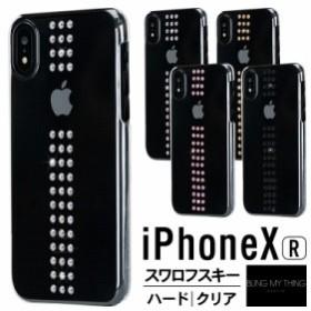 iPhone XR ケース スワロフスキー クリア ストライプ 薄型 スリム 透明 ハード カバー Swarovski デザイン シンプル エレガント スマホケ