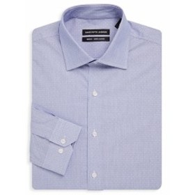 サックスフィフスアベニュー Men Clothing Trim-Fit Dobby Dot Dress Shirt