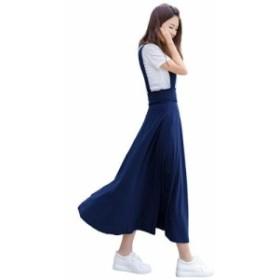シンプル 爽やかなロングジャンバースカート