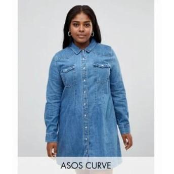 エイソス ワンピース ASOS DESIGN Curve denim fitted western shirt dress with seam detail Blue