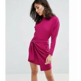 エイソス ワンピース ASOS Batwing Mini Dress with Wrap Skirt Purple